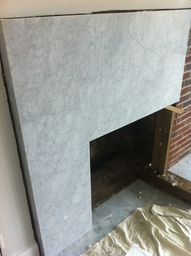 marble fireplace photo
